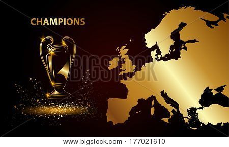 Champions Cup with a map. Metallic Golden Soccer trophy.