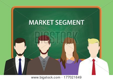 market segment text on chalkboard illustration with man and woman in front of the board vector