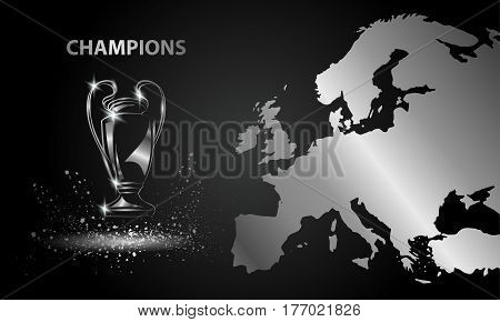 Champions Cup with a map. Metallic Chromed Soccer trophy.