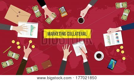 discussion about marketing collateral on a meeting table illustration with paperworks, money and document folder on top of table vector