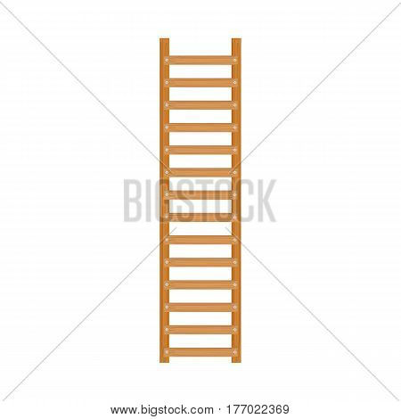 Wooden ladder on white isolated on white background