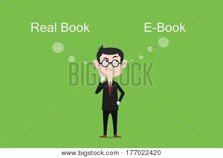Comparing the benefits of real book vs ebook illustration with white bubble text vector