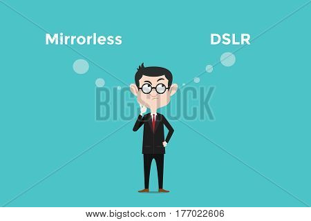 confuse to choose for buying mirrorless vs dslr camera and comparing its benefits illustration with white bubble text vector