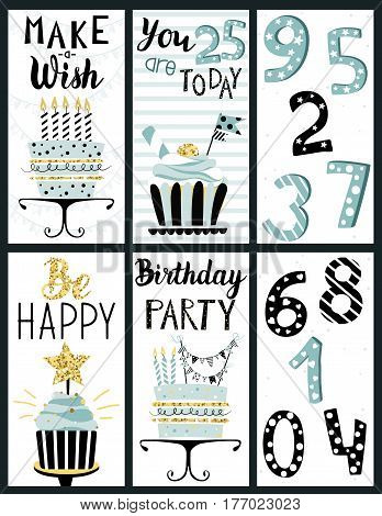 Happy Birthday Party cards set with cakes cupcakes toppers candles numbers and lettering text. Vector hand drawn illustration.