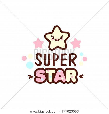 Cute little face and super star lettering illustration. illustration of isolated with phrase on white. Vector style pacifier Kawaii emoticons for print on t-shirt, one piece body gift for kids.