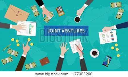 discussion group about joint ventures in a meeting illustration with paperworks, coins, folder document littered on top table vector