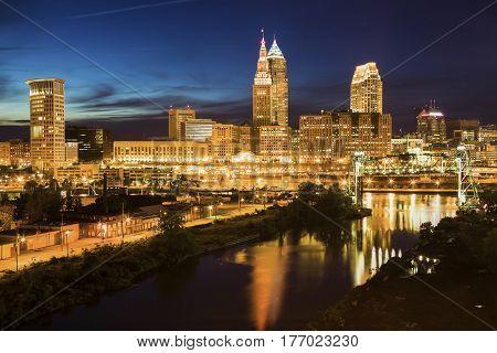 Cleveland skyline and Cuyahoga River. Cleveland Ohio USA.