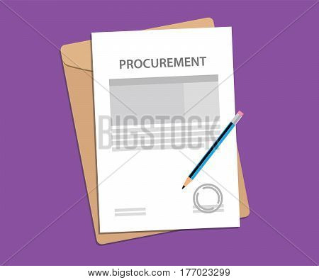 signing procurement agreement stamped paper with pen and folder document on top of table vector