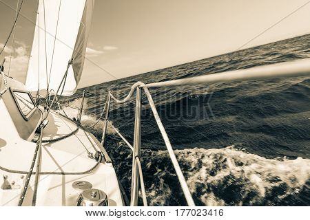 Yachting yacht sailboat sailing in baltic sea summer vacation. Tourism luxury lifestyle. Toned image