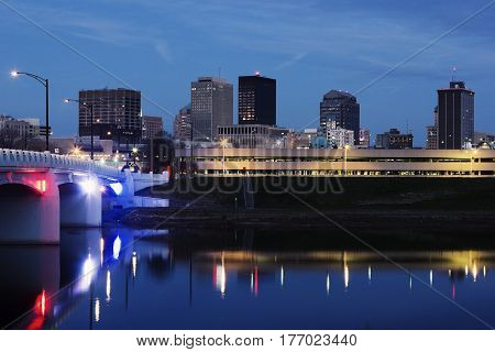 Skyline of Dayton at night. Dayton Ohio USA.