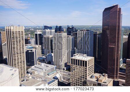 Panorama of modern Calgary skyline. Calgary Alberta Canada.