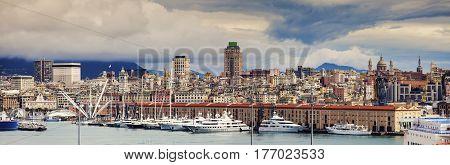 Genoa - panoramic view of the city. Genoa Liguria Italy