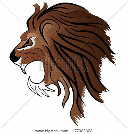 Angry Lion Head Roaring Mascot Vector Illustration isolated on white background