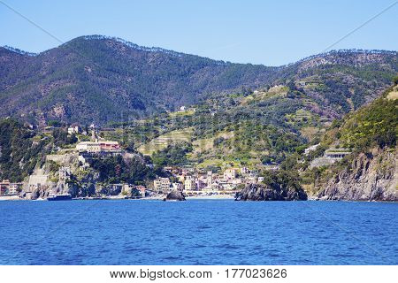 Monterosso architecture from the sea. Monterosso Liguria Italy.