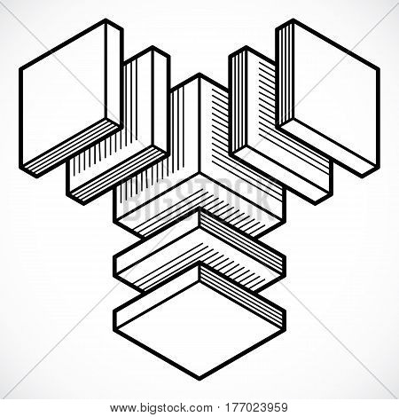 Abstract Trigonometric Construction, Vector Dimensional Design Template.
