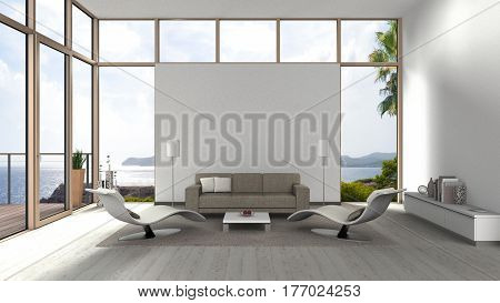 3D rendering of a living room with glass front windows terrace and view to the sea and coast