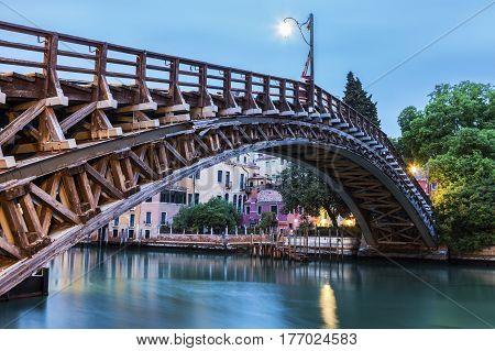 Accademia Bridge on Grand Canal in Venice. Venice Veneto Italy