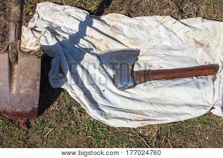 Farm Tools, Shovel And Butcher Ax