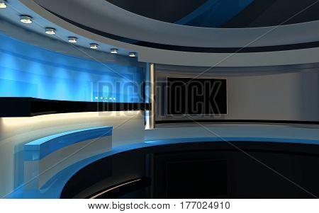 Blue Studio. Tv Studio. News Room. 3D Rendering. 3D