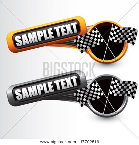 racing checkered flags on tilted multi color banners