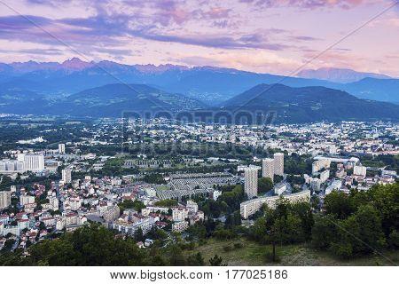 Grenoble architecture at sunset. Grenoble Auvergne-Rhone-Alpes France.