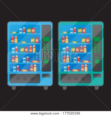 Vending machine with snacks and drinks. Machine automatic public vending