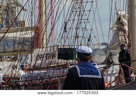 SZCZECIN, WEST POMERANIAN / POLAND - JUNE, 2016: Sailing with a visit to the Days of the Sea in Szczecin - sailors on watch at the gangway