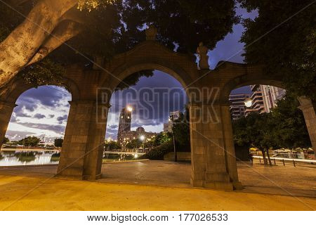 Panorama of Santa Cruz de Tenerife - gate in the park. Santa Cruz de Tenerife Tenerife Spain.