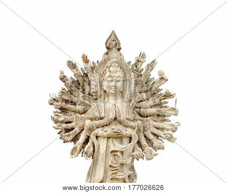 The chinese god, Guan Yin showing 1000 hands on white background