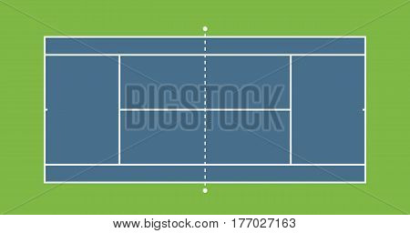 Tennis hard court illustration. Top view, Vector illustration