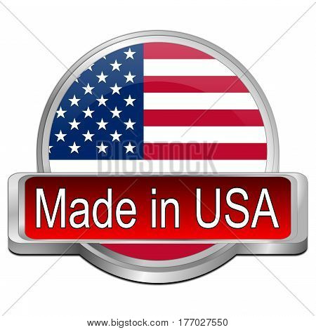 red Made in USA button - 3D illustration