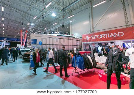 ESTONIA. TALLINN. MARCH 17-19, 2017: Tallinn Boat Show in Estonian Fairs Center.