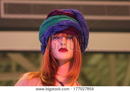 Female mannequin in a hat Rostov-on-Don Russia May 9 2012. The picture was taken in the shopping center.