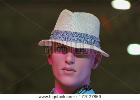 Male mannequin with hat Rostov-on-Don Russia May 9 2012. Photo taken at the mall.