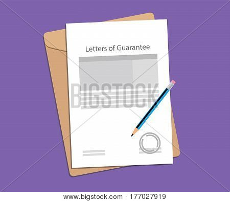 illustration for letters of guarantee stamped and completed with folder document on top of table vector