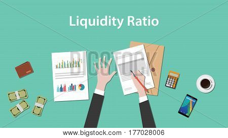 illustration of counting liquidity ratio with paperworks, calculator and money on top of table vector