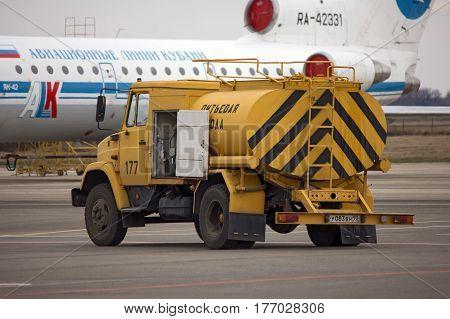 Aerodrome machine for drinking water Krasnodar Russia September 28 2012. Airport