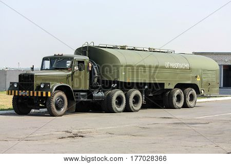 A rare aerodrome tanker TZ-22 aerodrome Rostov-on-Don Russia August 14 2010 was photographed at the military aerodrome Rostov-Central during the air show.
