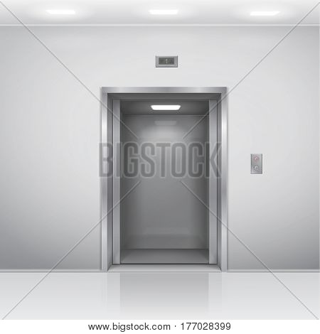 realistic open chrome metal office building elevator. 3D