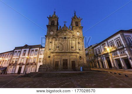 Santa Cruz Church in Braga at dawn. Braga Norte Region Portugal.