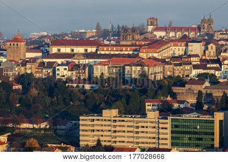 Panorama of Braga at sunrise. Braga Norte Region Portugal.