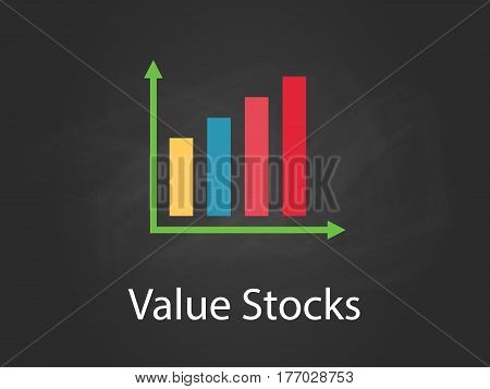 value stocks chart illustration with colourful bar, white text and black background vector