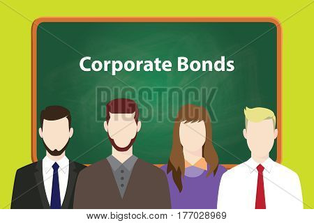 corporate bond illustration with four people in front of green chalk board and white text vector