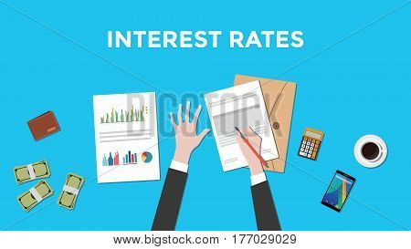 illustration of counting interest rates with paperworks, calculator and money on top of table and blue background vector