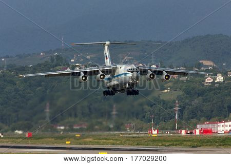 Russian military transport plane takes off,Soch,Russia,9 august 2012