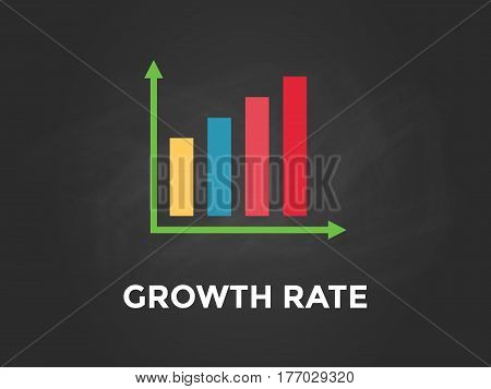 Growth rate chart illustration with colourful bar, white text and black background vector