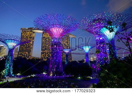 Singapore, Singapore - February 10, 2017: Night supergrove trees in Gardens By the Bay, situated in Marina Bay area in Singapore, it's a new design garden with innovative.