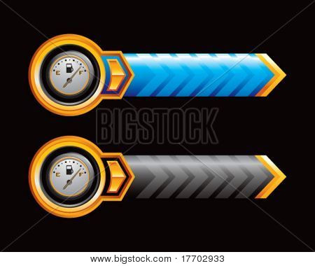 gas gauge on blue and black arrows