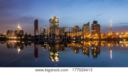 Skyline of Donau City - Vienna DC. Vienna Austria.