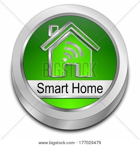 green Smart Home Button - 3D illustration